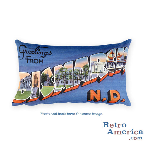 Greetings from Bismarck North Dakota Throw Pillow 1