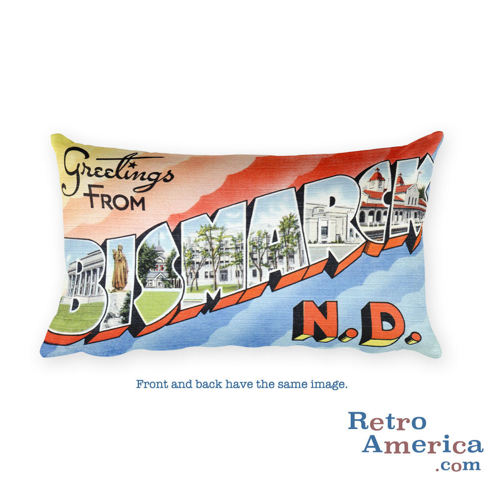 Greetings from Bismarck North Dakota Throw Pillow 2