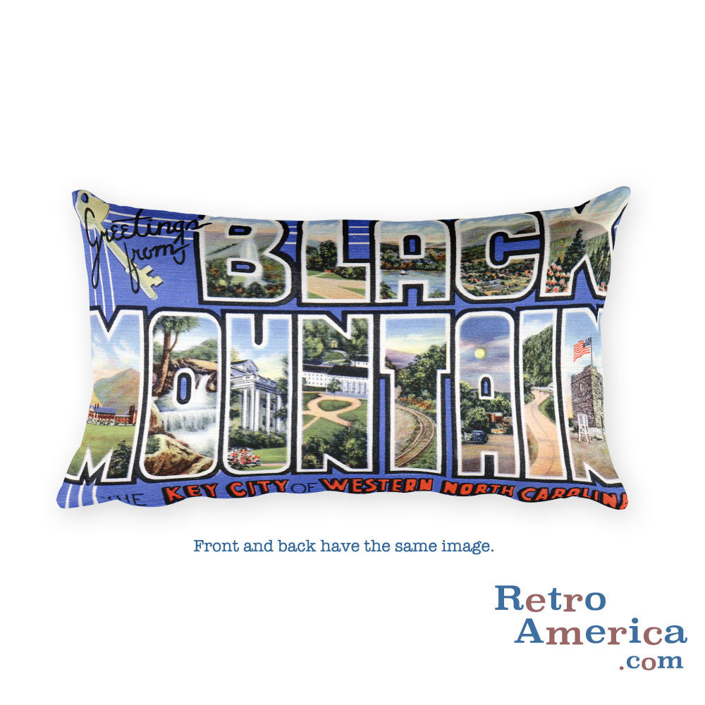 Greetings from Black Mountain North Carolina Throw Pillow