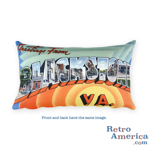 Greetings from Blackstone Virginia Throw Pillow