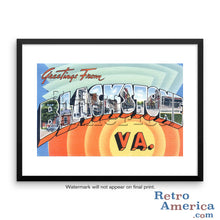 Greetings from Blackstone Virginia VA Postcard Framed Wall Art
