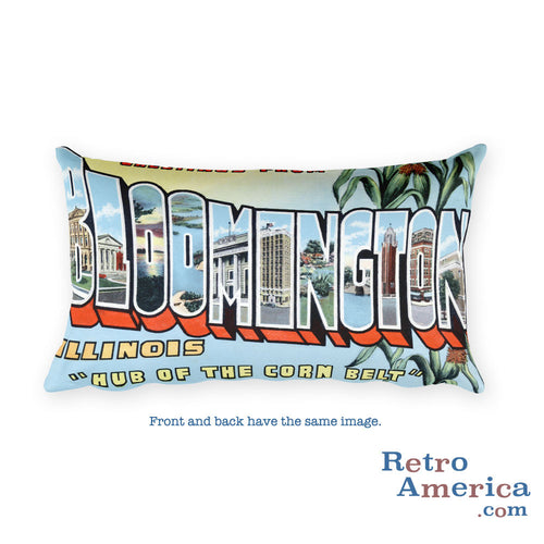 Greetings from Bloomington Illinois Throw Pillow