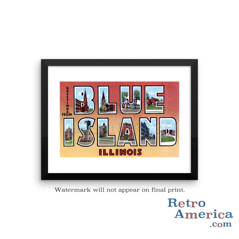 Greetings from Blue Island Illinois IL Postcard Framed Wall Art
