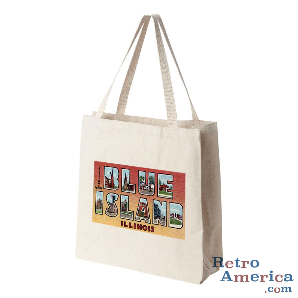 Greetings from Blue Island Illinois IL Postcard Tote Bag