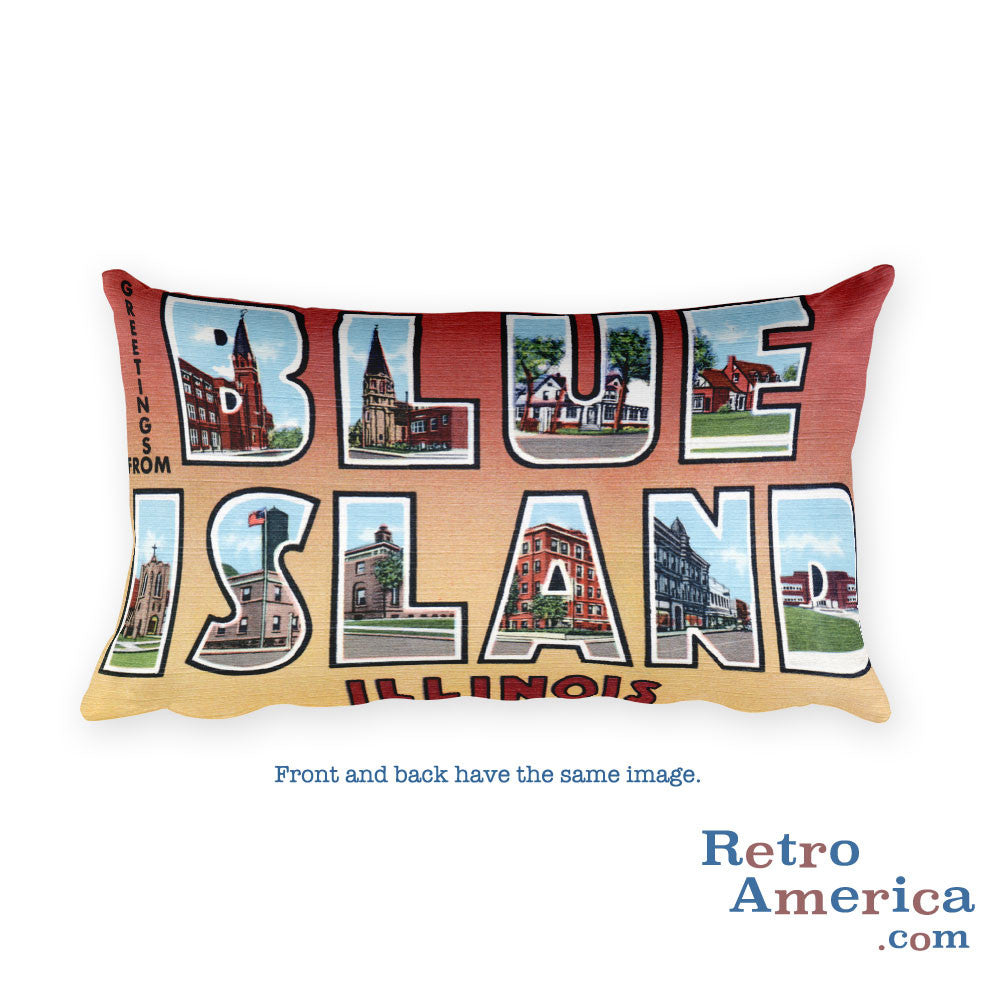 Greetings from Blue Island Illinois Throw Pillow