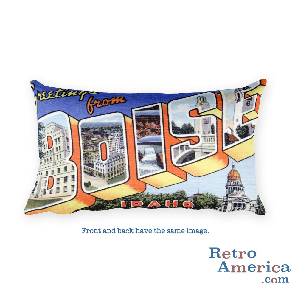 Greetings from Boise Idaho Throw Pillow