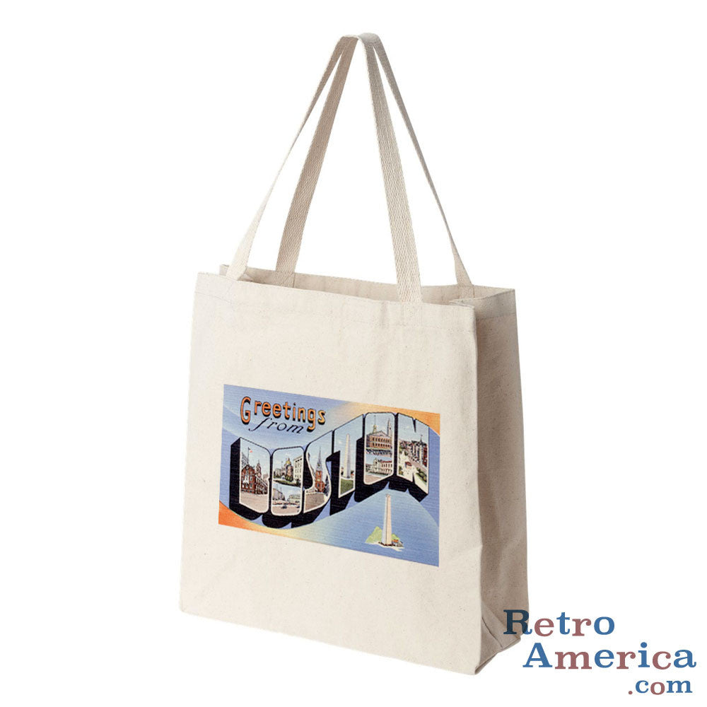 Greetings from Boston Massachusetts MA 1 Postcard Tote Bag