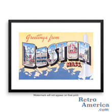 Greetings from Boston Massachusetts MA 2 Postcard Framed Wall Art