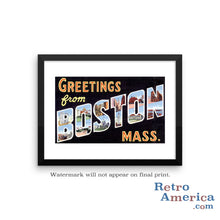 Greetings from Boston Massachusetts MA 3 Postcard Framed Wall Art