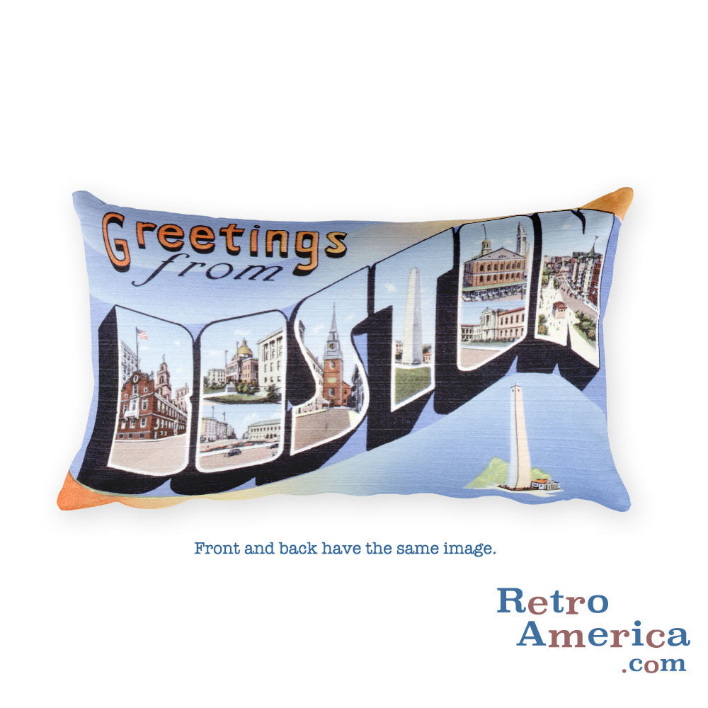 Greetings from Boston Massachusetts Throw Pillow 1