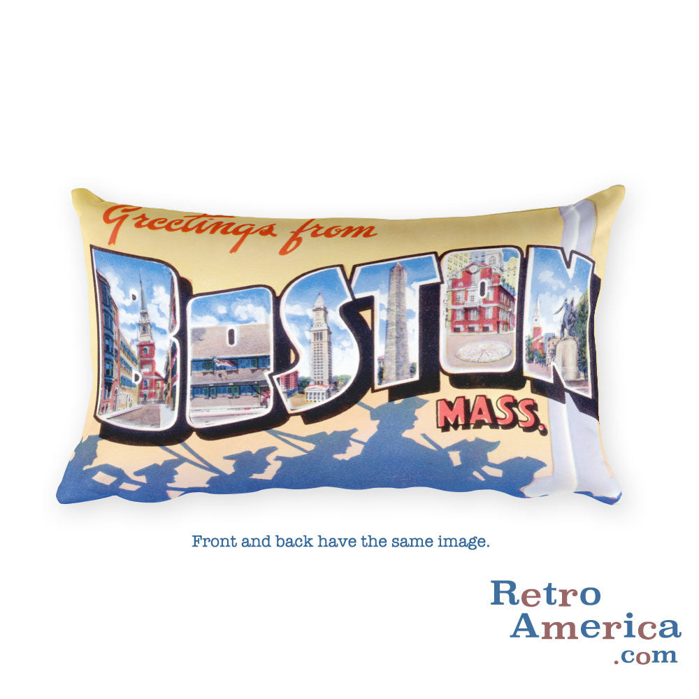 Greetings from Boston Massachusetts Throw Pillow 2