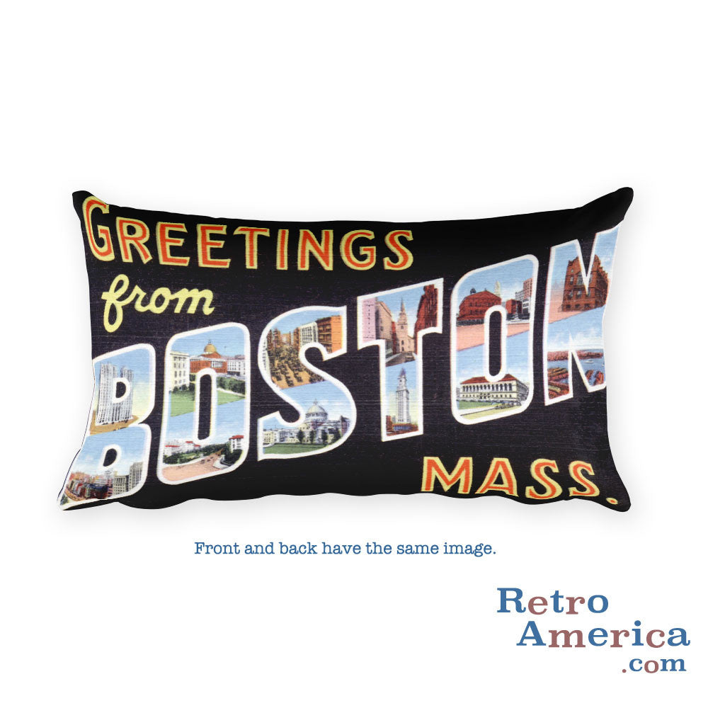 Greetings from Boston Massachusetts Throw Pillow 3