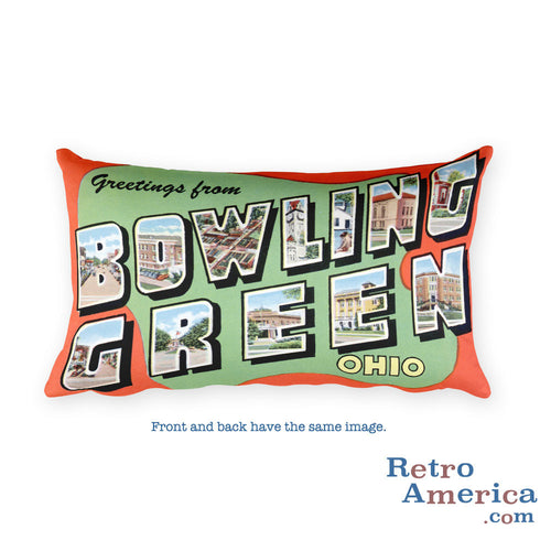 Greetings from Bowling Green Ohio Throw Pillow