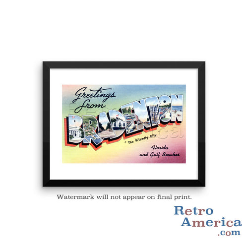 Greetings from Bradenton Florida FL Postcard Framed Wall Art