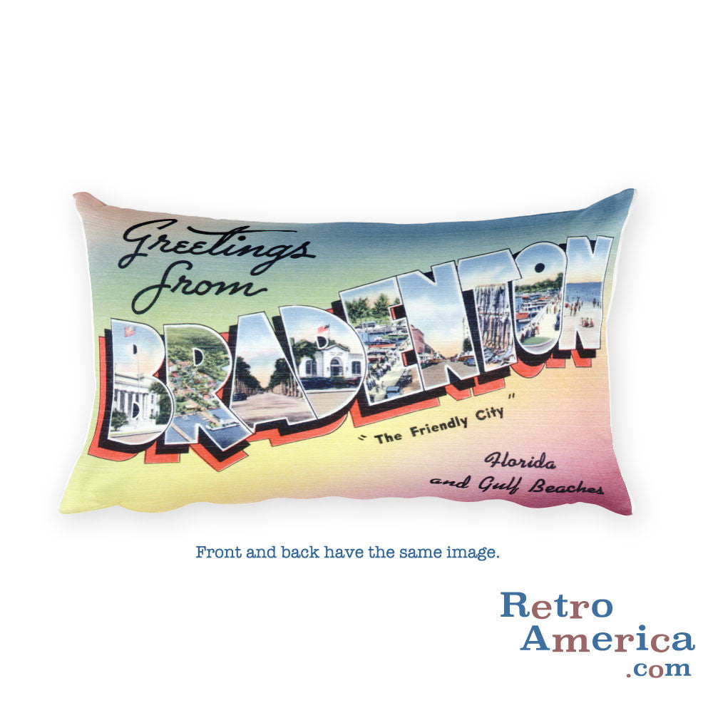 Greetings from Bradenton Florida Throw Pillow