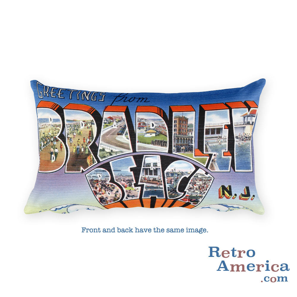 Greetings from Bradley Beach New Jersey Throw Pillow