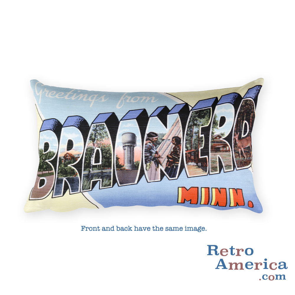 Greetings from Brainerd Minnesota Throw Pillow