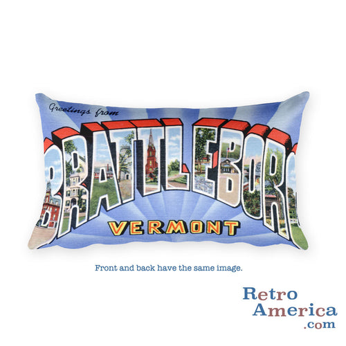 Greetings from Brattleboro Vermont Throw Pillow