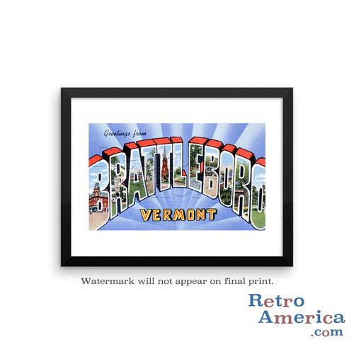 Greetings from Brattleboro Vermont VT Postcard Framed Wall Art