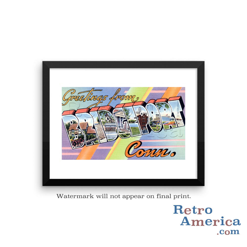 Greetings from Bridgeport Connecticut CT Postcard Framed Wall Art