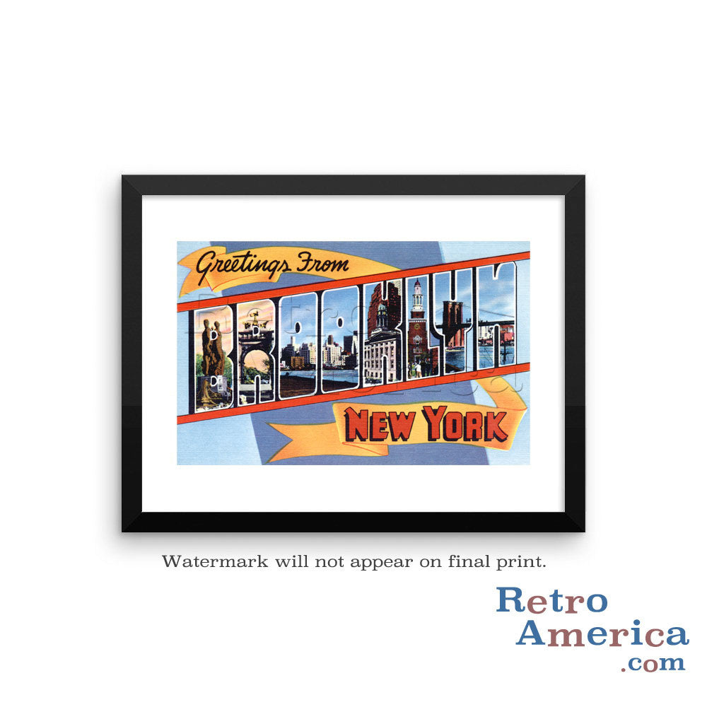Greetings from Brooklyn New York NY 1 Postcard Framed Wall Art