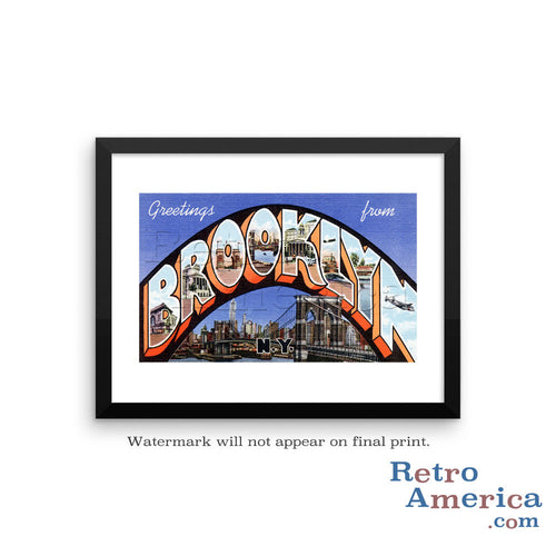 Greetings from Brooklyn New York NY 2 Postcard Framed Wall Art