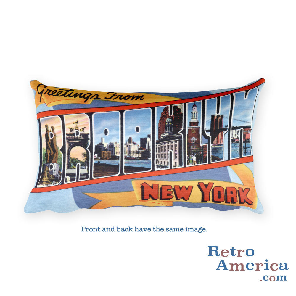 Greetings from Brooklyn New York Throw Pillow 1