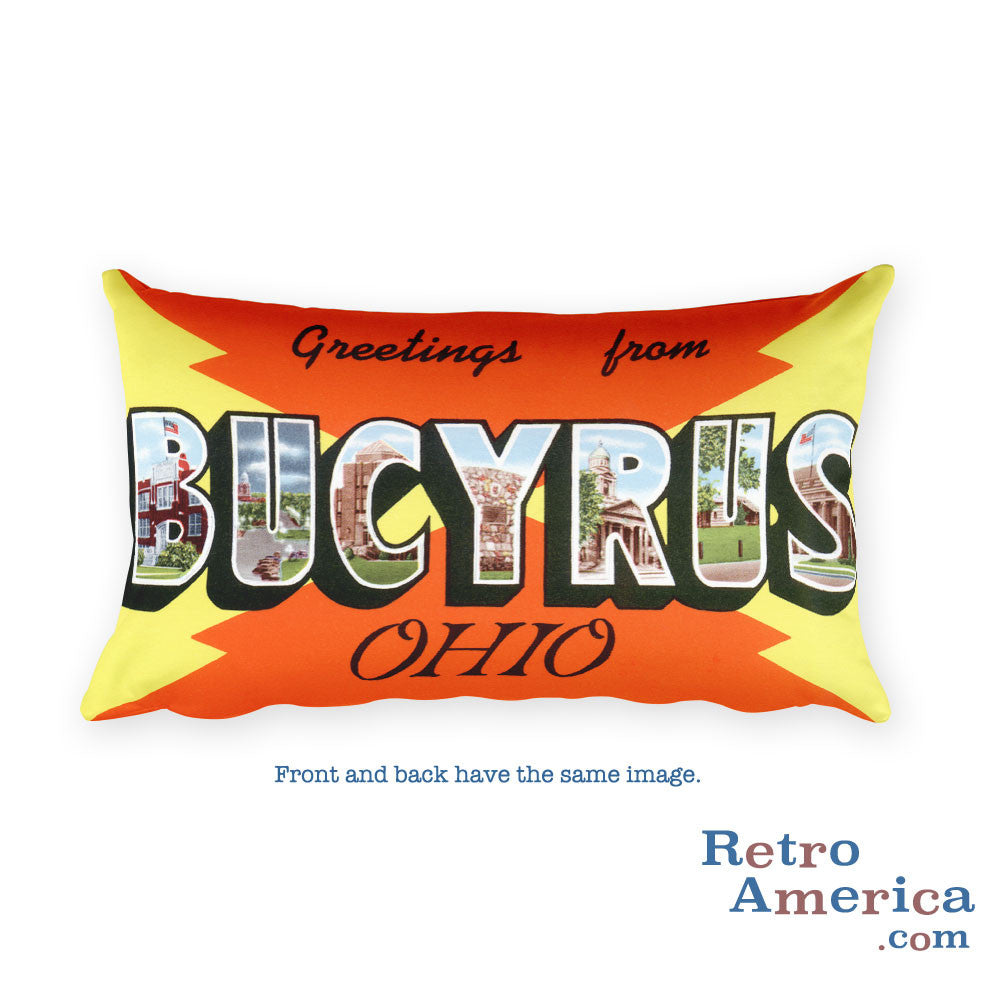 Greetings from Bucyrus Ohio Throw Pillow