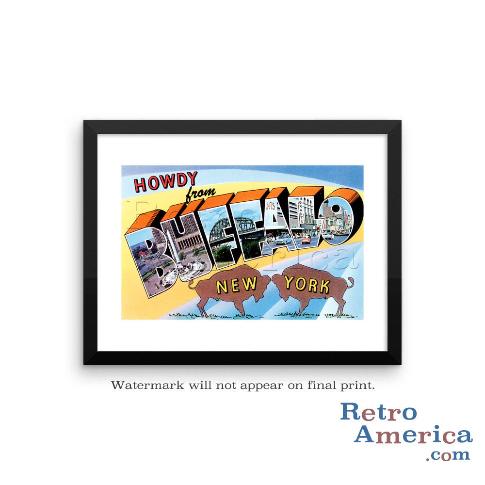 Greetings from Buffalo New York NY 1 Postcard Framed Wall Art