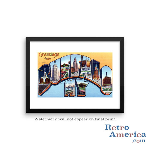 Greetings from Buffalo New York NY 2 Postcard Framed Wall Art