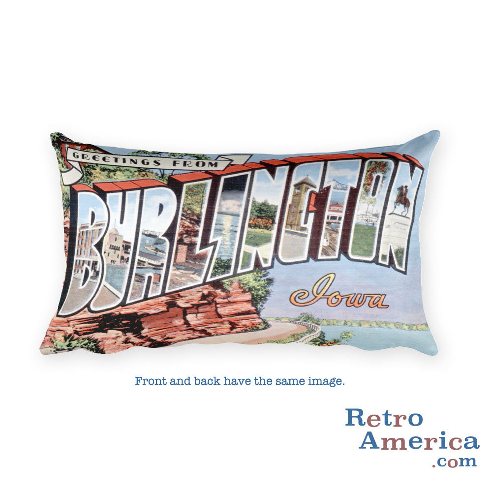 Greetings from Burlington Iowa Throw Pillow 1