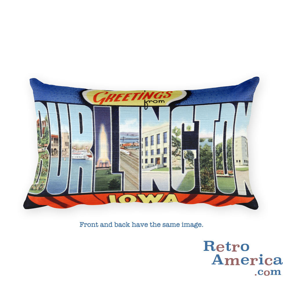 Greetings from Burlington Iowa Throw Pillow 2