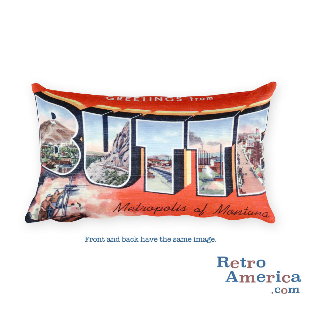 Greetings from Butte Montana Throw Pillow