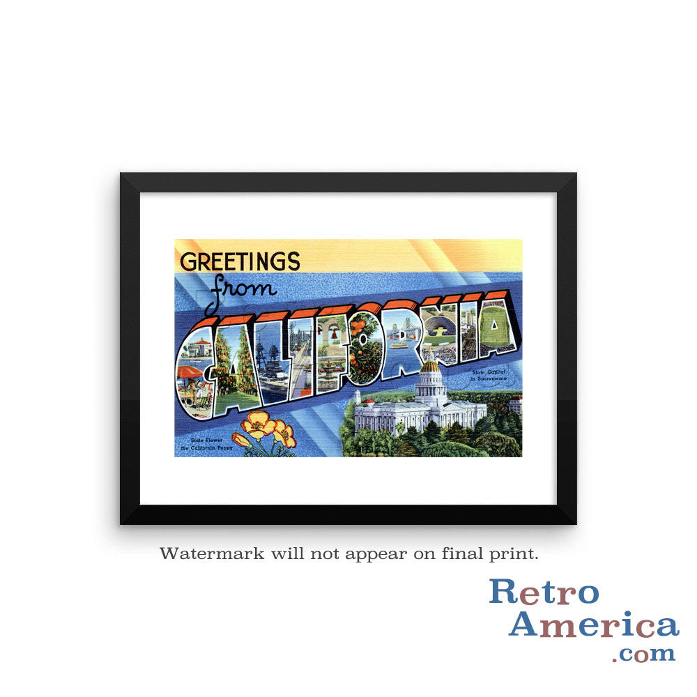 Greetings from California CA 1 Postcard Framed Wall Art