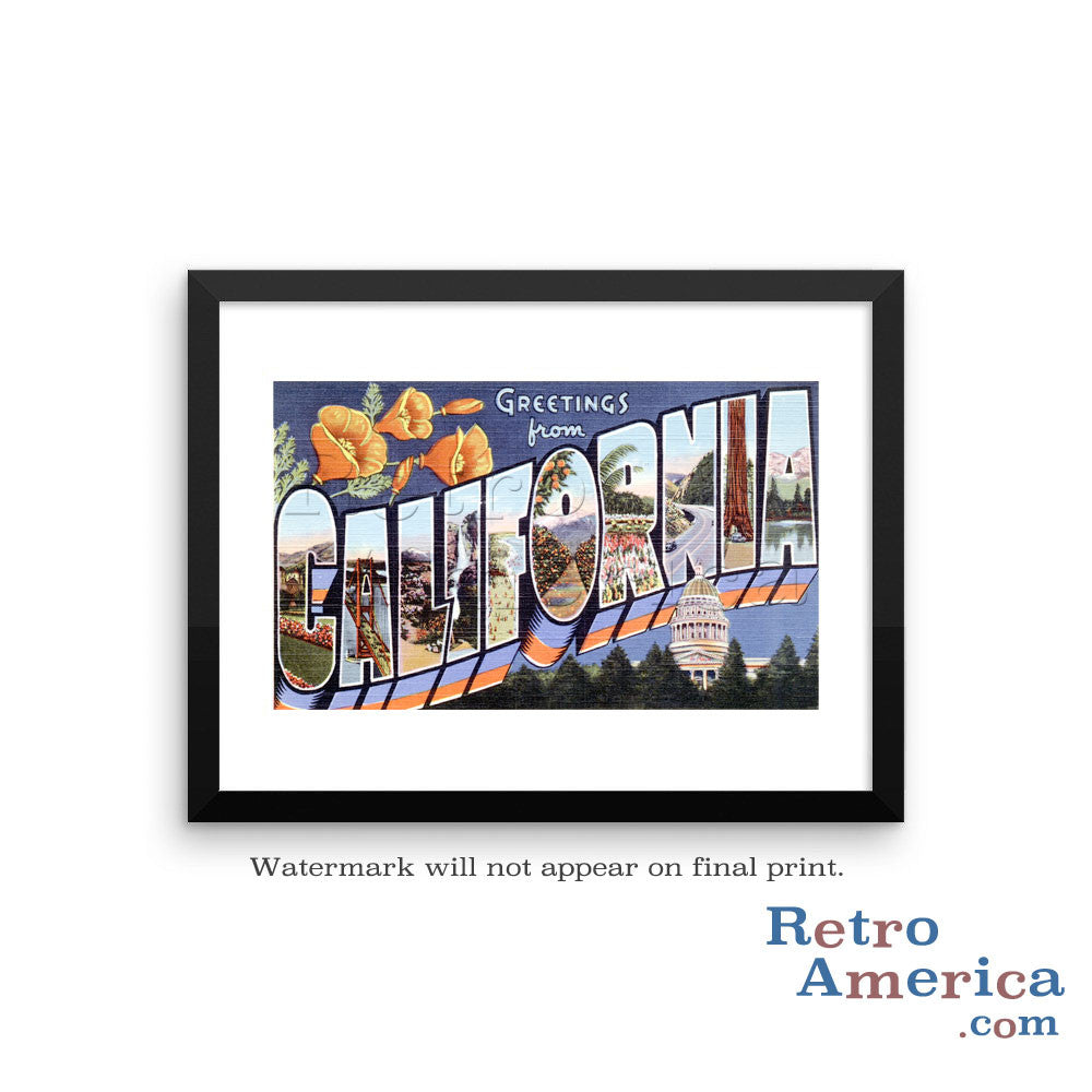 Greetings from California CA 2 Postcard Framed Wall Art