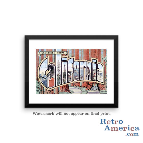 Greetings from California CA 3 Postcard Framed Wall Art