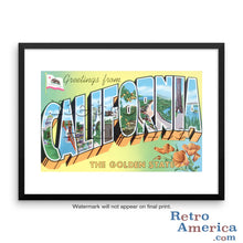 Greetings from California CA 4 Postcard Framed Wall Art