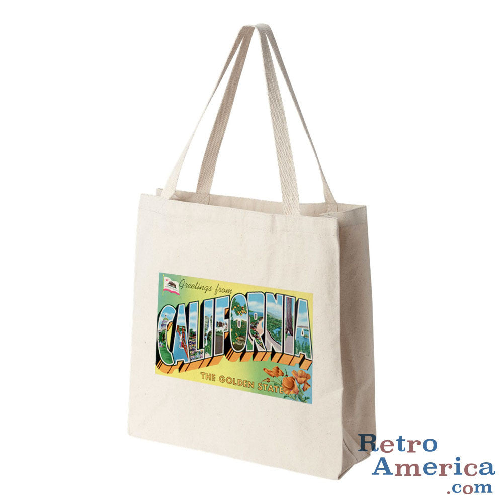 Greetings from California CA 4 Postcard Tote Bag