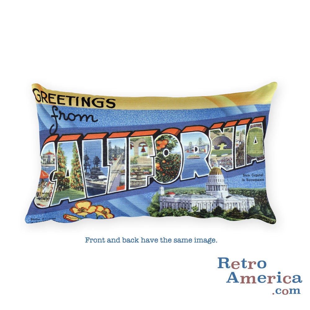Greetings from California Throw Pillow 1