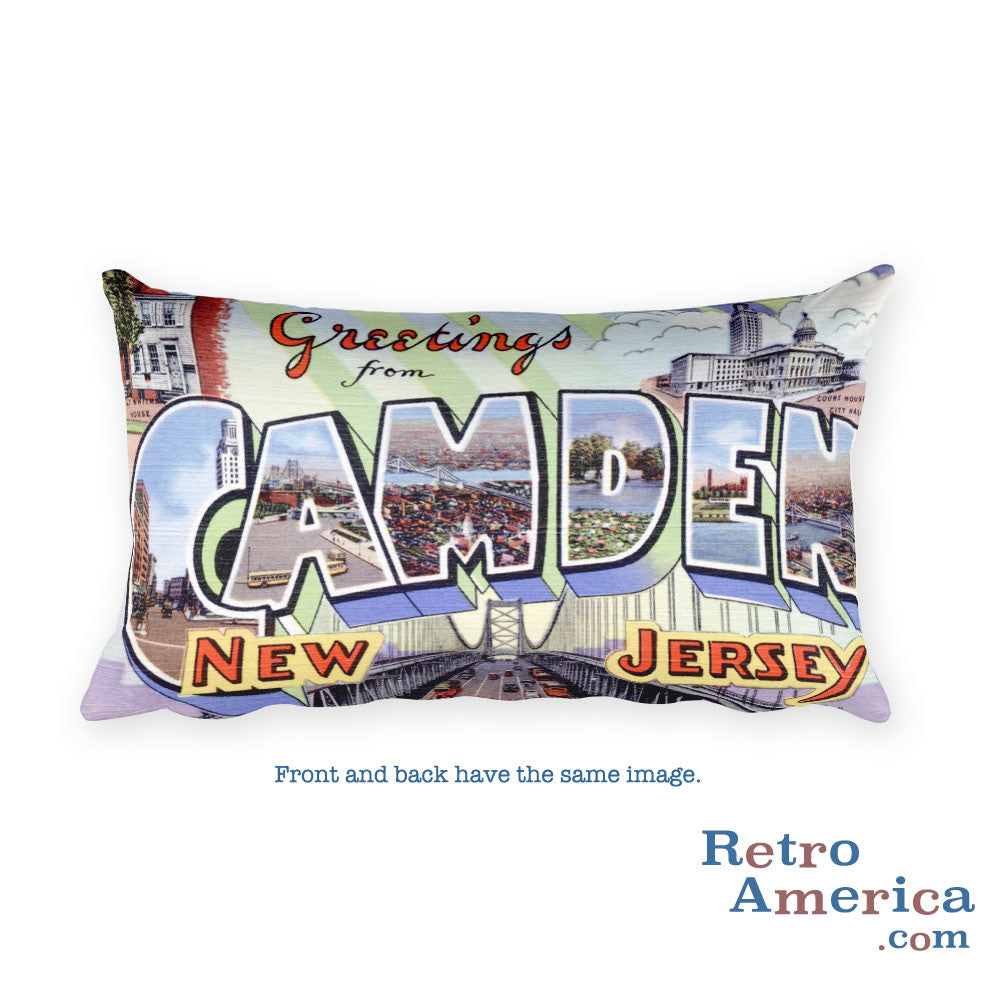 Greetings from Camden New Jersey Throw Pillow