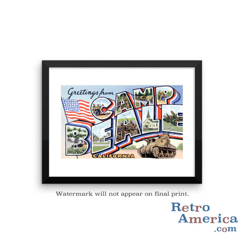Greetings from Camp Beale California CA Postcard Framed Wall Art