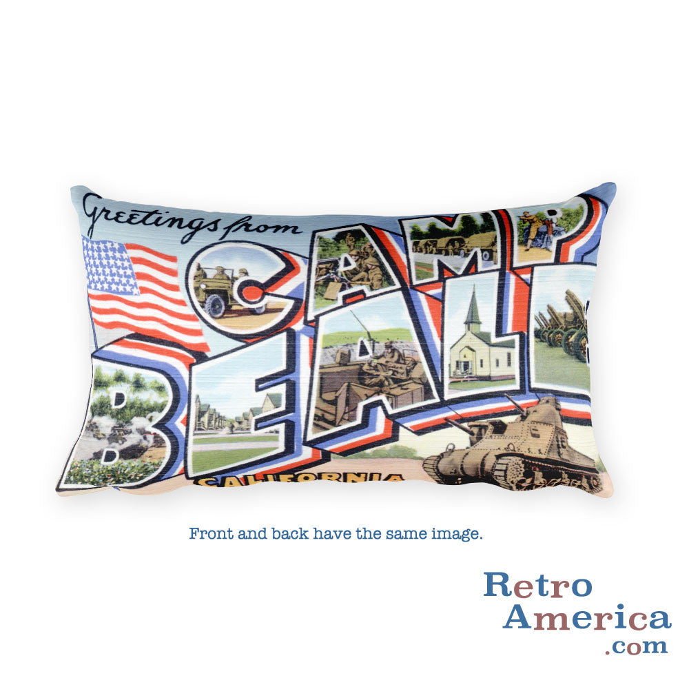 Greetings from Camp Beale California Throw Pillow