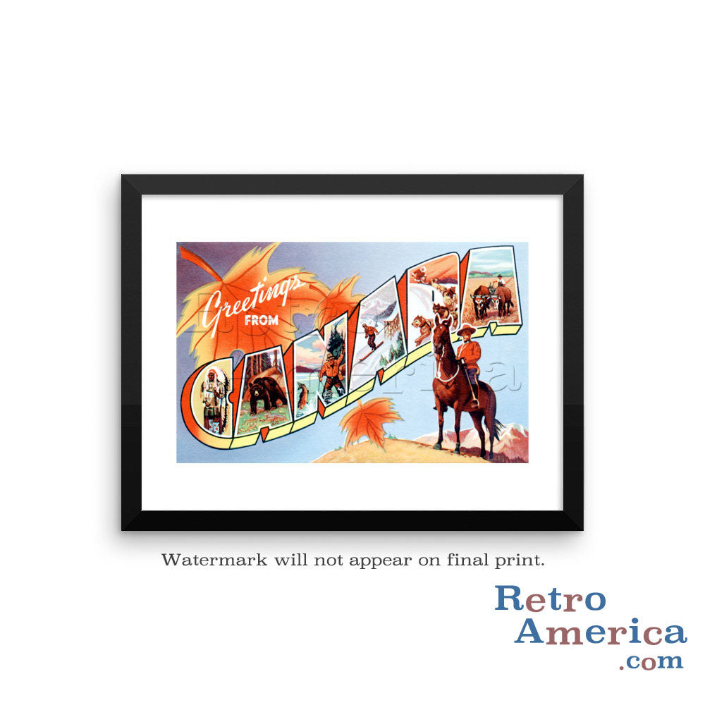 Greetings from Canada Canada 1 Postcard Framed Wall Art