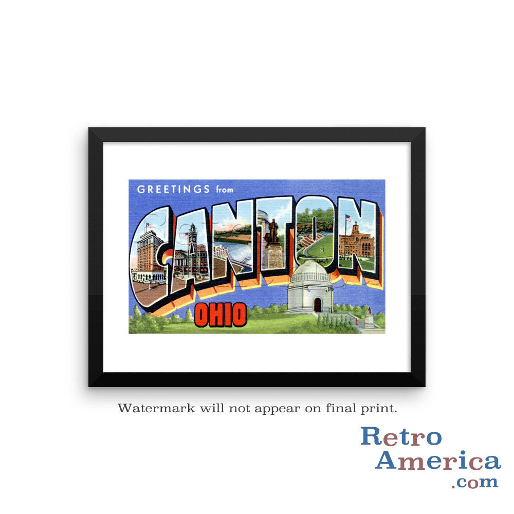 Greetings from Canton Ohio OH Postcard Framed Wall Art
