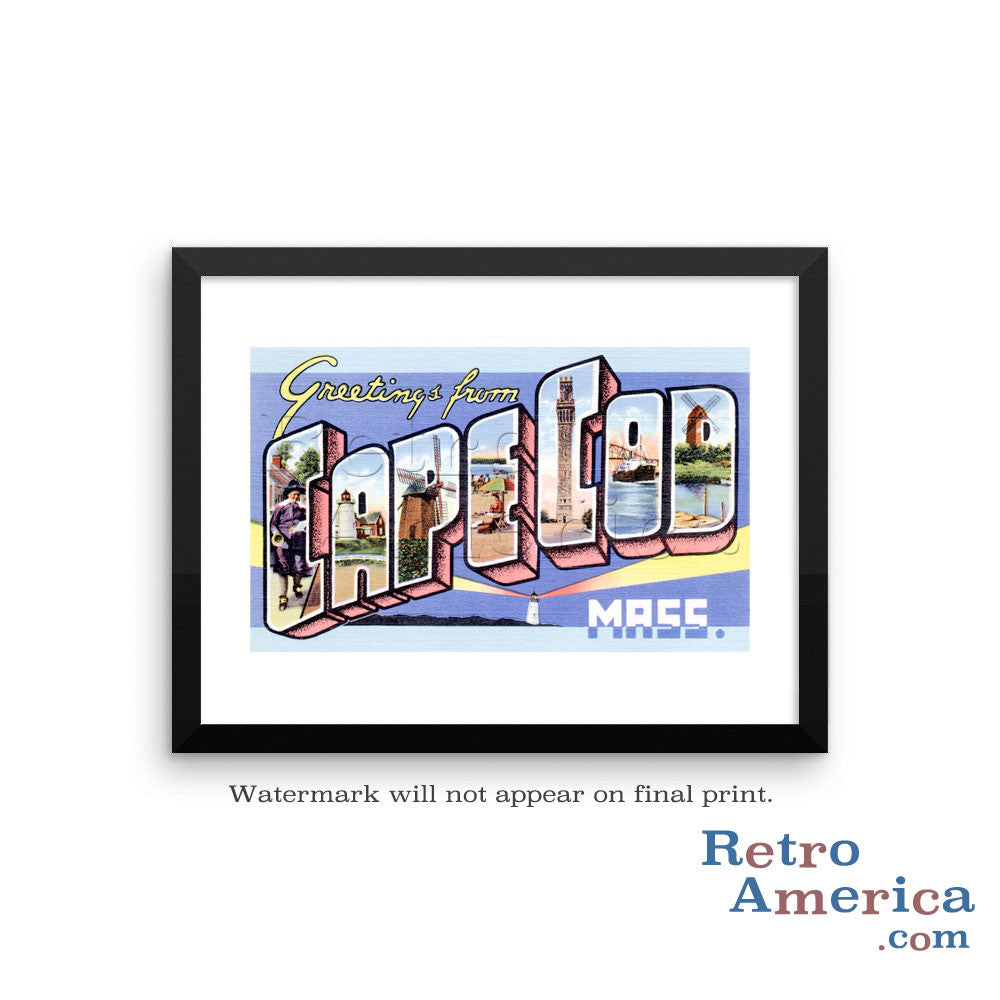 Greetings from Cape Cod Massachusetts MA Postcard Framed Wall Art