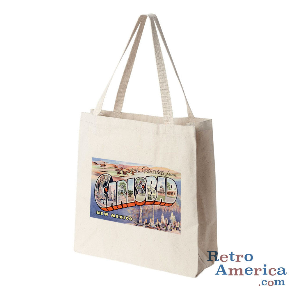 Greetings from Carlsbad New Mexico NM Postcard Tote Bag