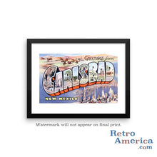 Greetings from Carlsbad New Mexico NM Postcard Framed Wall Art