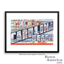 Greetings from Carolina Beach North Carolina NC Postcard Framed Wall Art