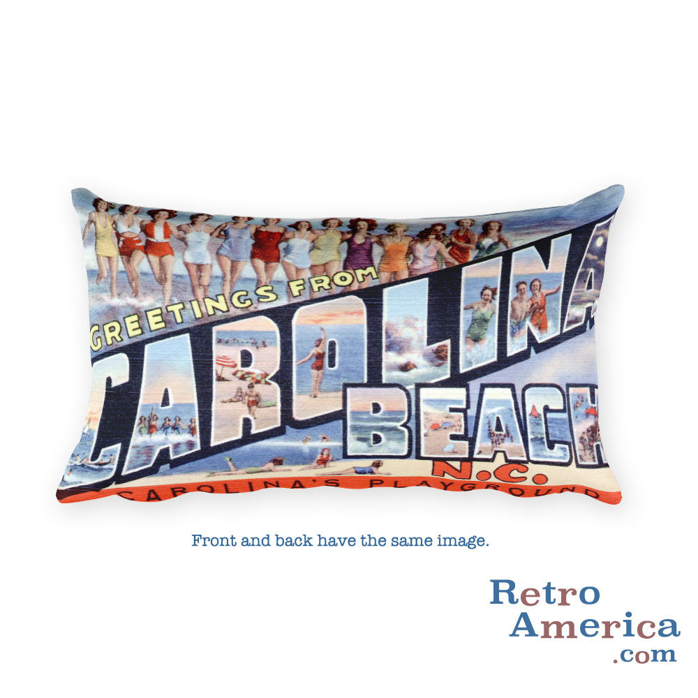 Greetings from Carolina Beach North Carolina Throw Pillow