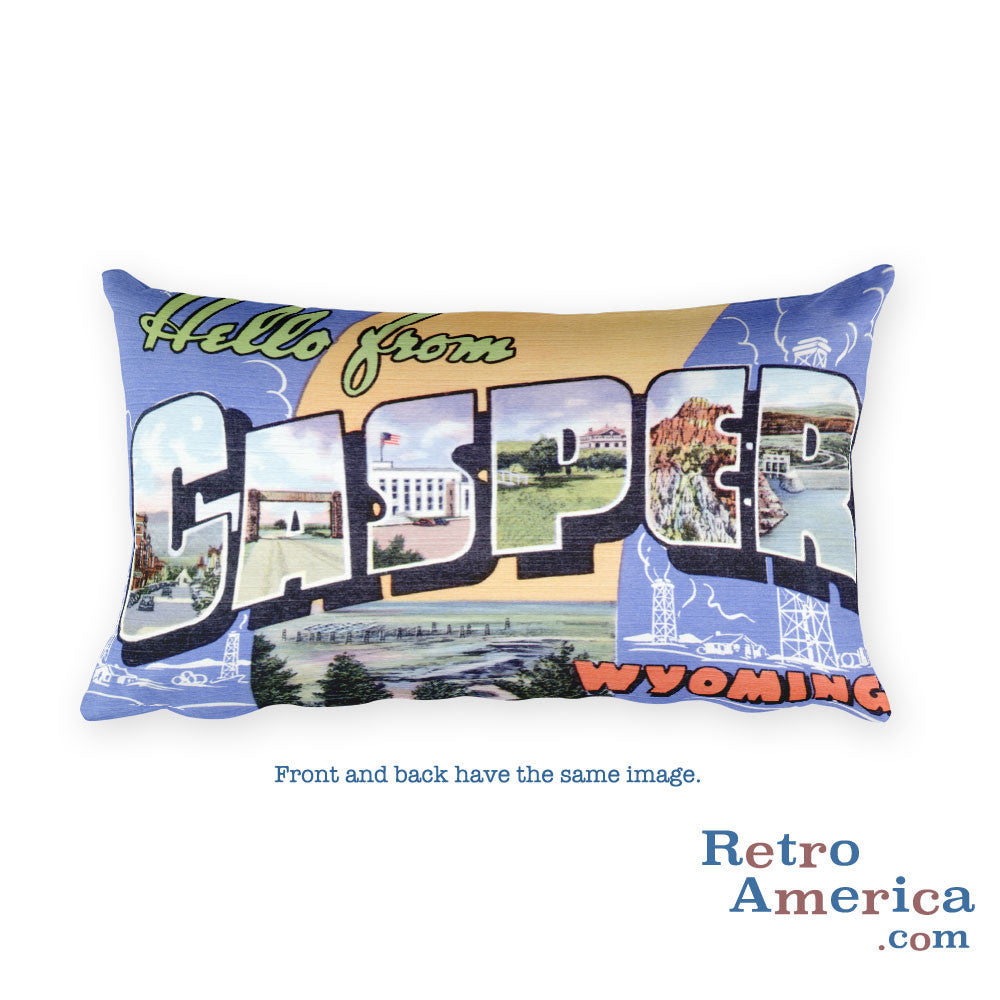 Greetings from Casper Wyoming Throw Pillow